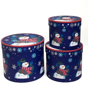 W7826 Blue Round Snowman Christmas Flower Boxes Set of 3