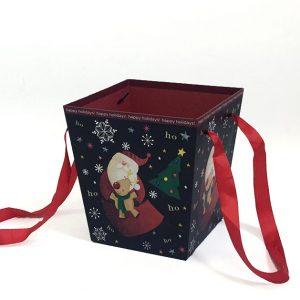 W7839 Christmas Santa Black Square Shape Flower Bucket