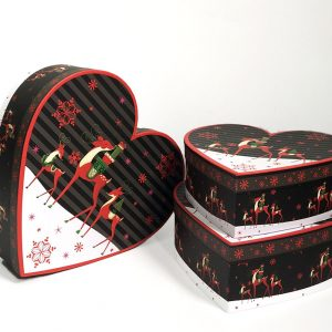 W7843 Christmas Reindeers Heart Shape Flower Boxes Set of 3