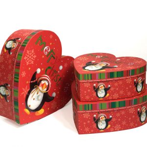W7844 Red Christmas Penguins Heart Shape Flower Boxes Set of 3