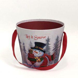W7946 Snowman Round Christmas Flower Box