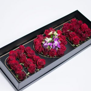 Black Rectangular Love Mom Flower Box With Liners and Foams