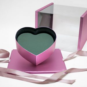 1021ARosegold Rose Gold Acrylic Square Flower Box Tilted Heart Center
