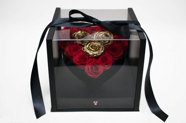 Black Acrylic Square Flower Box Tilted Heart Center And Drawer