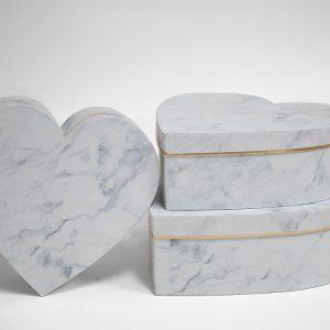 W6729 White Marble Set of 3 Heart Shape Flower Boxes