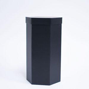 W7355 Black Hexagon 3 Tiers Triple Layer Flower Box