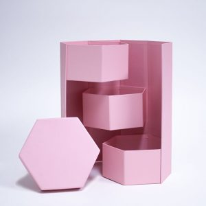 W7357 Pink Hexagon 3 Tiers Triple Layer Flower Box