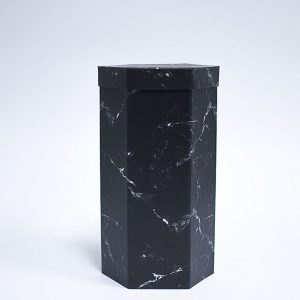 W7359 Black Marble Hexagon 3 Tiers Triple Layer Flower Box