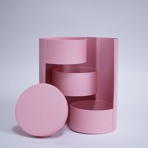 W7363 Pink Round 3 Tiers Triple Layer Flower Box