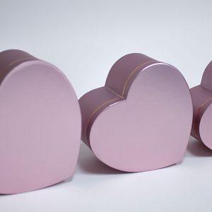 W7506 Rose Gold Heart Shape Set of 3 Flower Boxes