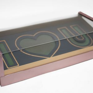 Rose Gold Acrylic I Love You Flower Box Comes With Liners and Foams