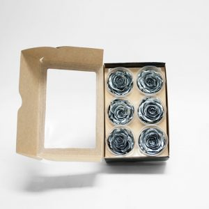 Silver Ecuadorian Eternity Flowers Preserved Roses Pack of 6 6cm to 7cm