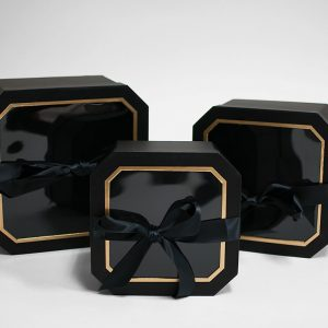 W5192 Black Set of 3 Hexagon Square Flower Boxes With Window and Ribbon