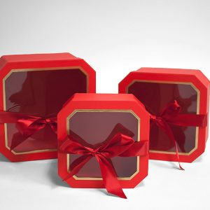 W5195 Red Set of 3 Hexagon Square Flower Boxes With Window and Ribbon