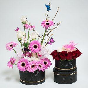 W6704 Black Marble Round Shape Set of 3 Flower Boxes
