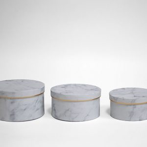 W6705 White Marble Round Shape Set of 3 Flower Boxes