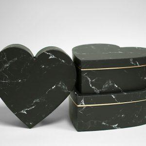 W6728 Black Marble Set of 3 Heart Shape Flower Boxes