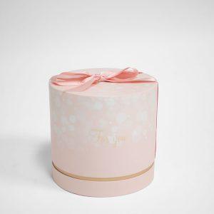 W6882 Orange Round Shape Flower Box With Ribbon