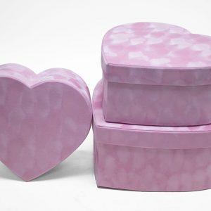 w7231 Pink Velvet Heart Shaped Box Set of 3