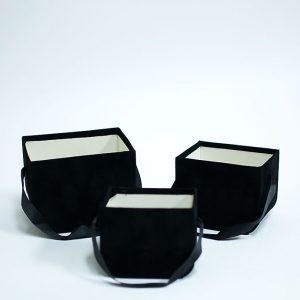 W7330 Black Set of 3 Velvet Square Flower Boxes