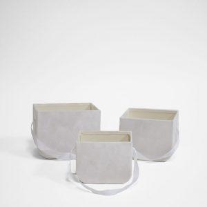 W7331 White Set of 3 Velvet Square Flower Boxes