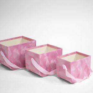 W7332 Pink Set of 3 Velvet Square Flower Boxes