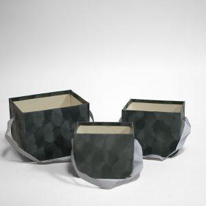 W7334 Grey Set of 3 Velvet Square Flower Boxes