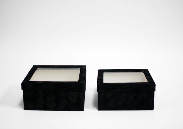 w7335 Black Velvet Square Flower Box with Window Set of 2