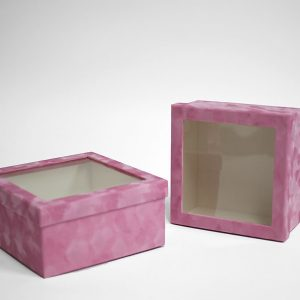 w7337 Pink Velvet Square Flower Box with Window Set of 2