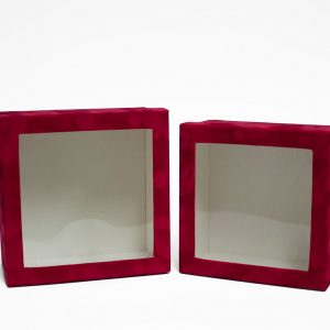 w7338 Red Velvet Square Flower Box with Window Set of 2