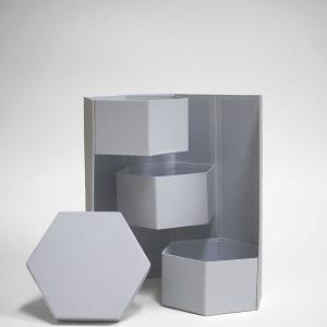 W7356 White Hexagon 3 Tiers Triple Layer Flower Box