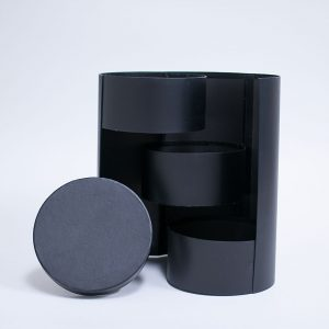 W7361 Black Round 3 Tiers Triple Layer Flower Box