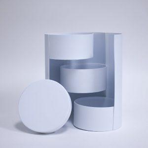 W7362 White Round 3 Tiers Triple Layer Flower Box