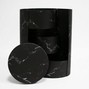 w7365 Black Marble Round 3 Tiers Triple Layer Flower Box