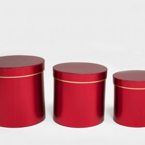 Red Round Flower Boxes set of 3 W7513