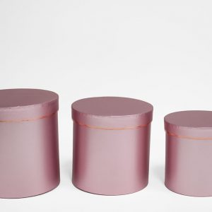 Rose Gold Round Flower Boxes set of 3 W7514