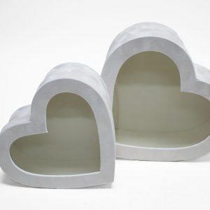 w7759 White Velvet Heart Shaped Flower Box with Window Set of 2