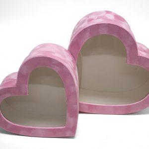 w7760 Pink Velvet Heart Shaped Flower Box with Window Set of 2