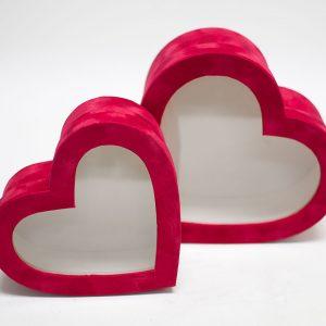 w7761 Red Velvet Heart Shaped Flower Box with Window Set of 2