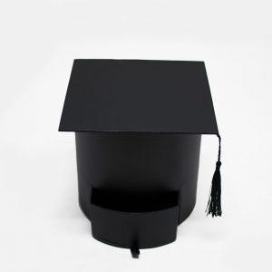 W7957 Black Graduation Cap Flower Box with Drawer