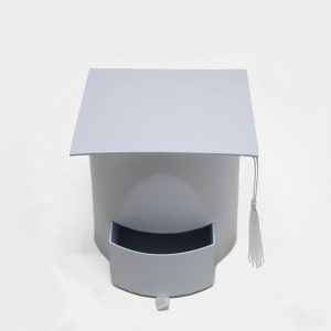 W7958 White Graduation Cap with Drawer