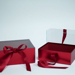 W7969 Red Rectangular Flower Boxes With Clear Lid and Ribbon Set of 2