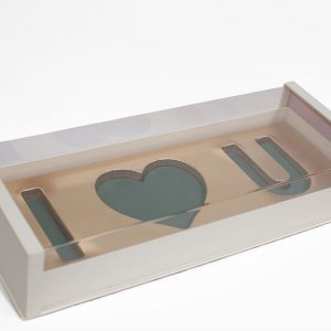 10571Beige Beige Acrylic I Love You Flower Box Comes With Liners and Foams