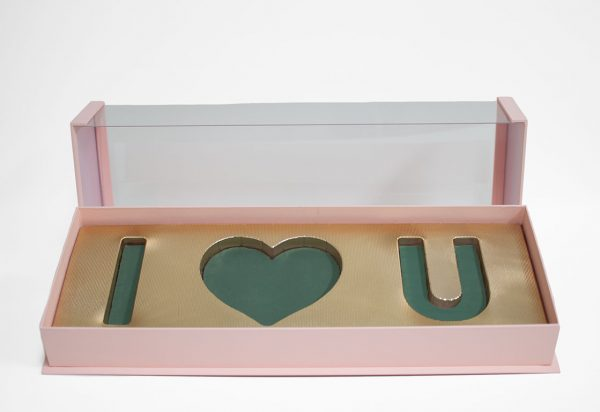 10571Pink Pink Acrylic I Love You Flower Box Comes With Liners and Foams