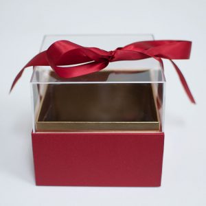 1131Ared Mini Red Acrylic Square Flower Box
