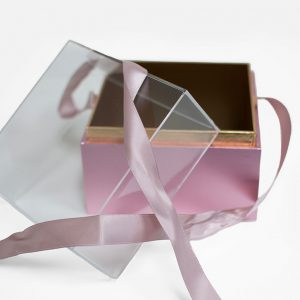 1131Arosegold Mini Rose Gold Acrylic Square Flower Box