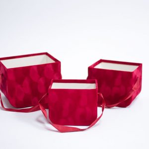 W7333 Red Set of 3 Velvet Square Flower Boxes