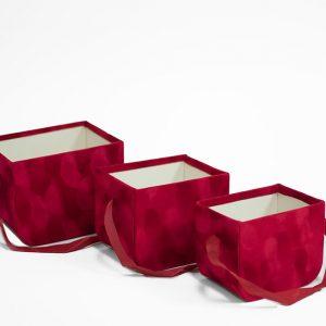 W7333 Red Set of 3 Velvet Square Flower Boxes