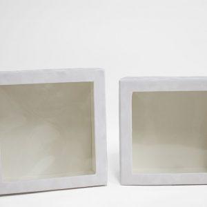 w7336 White Velvet Square Flower Box with Window Set of 2