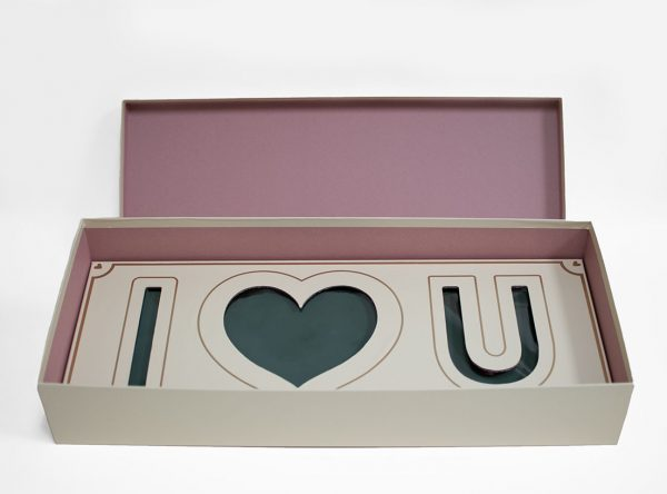 Vanilla Rectangular I Love You Flower Box With Liners and Foams